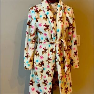 *Robe, Faded Glory, polyester, reindeer, Sz L